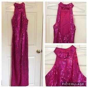 VINTAGE halter hot pink gown